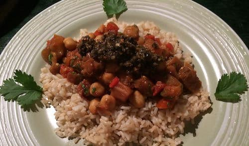 Vegan Moroccan Eggplant and Garbanzos