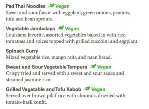 Holland America vegan entrees