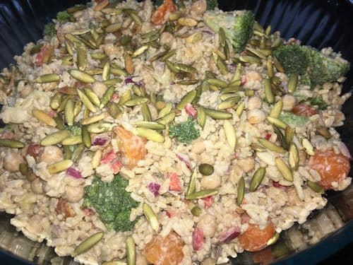 Brown rice salad with tahini sauce