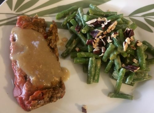 Lentil loaf with sriracha glaze