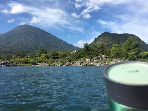 My coffee mug enjoying the view of Toliman on the left and Cerro de Oro on the right