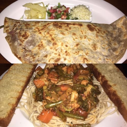 Our best meals in Copán at ViaVia Cafe: veggie baleada and pasta with vegetable sauce