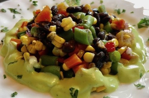 tropical vegetable salad with black beans