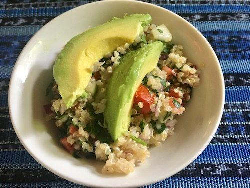 Quinoa tabbouleh with avocado