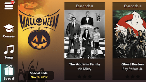 Simply Piano Halloween screen