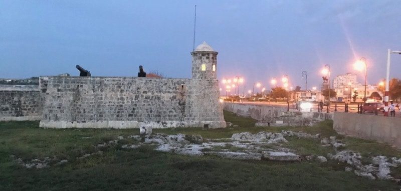 Castillo de la Punta, at the entrance to Havana Harbor, at sunset