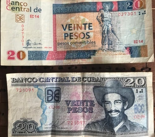 "Photo of the Cuban Convertible Peso (CUC) and the ""moneda nacional"" (CUP)"