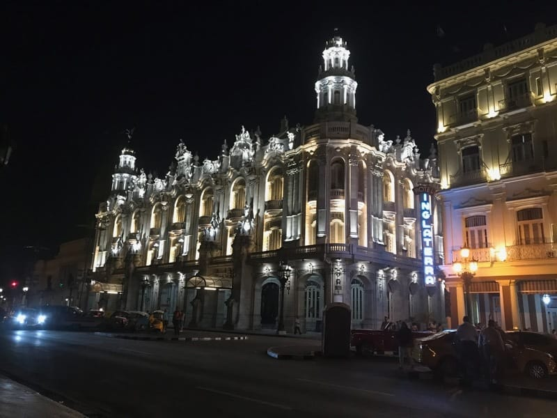 Gran Teatro de la Habana at night from the Parque Central