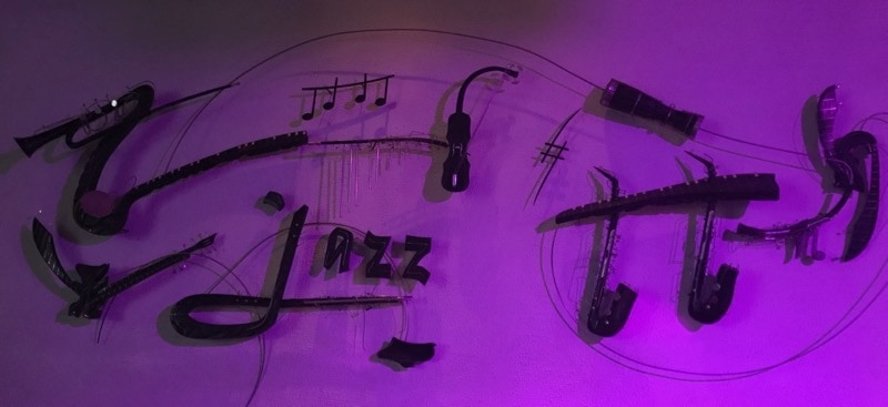 Sign above the stage at the Jazz Cafe in Havana
