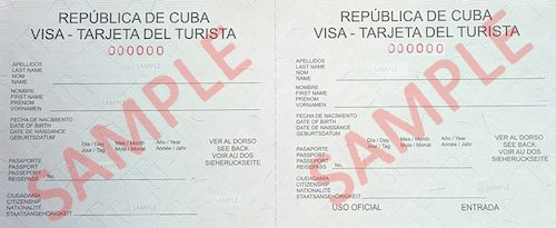 Sample of a Cuban tourist card