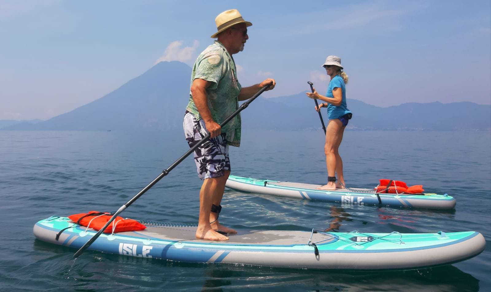 Mark and Traci paddleboarding for the first time.