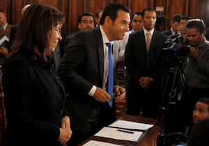 Guatemalan presidential candidates Sandra Torres and Jimmy Morales