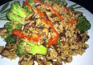 Oil-free vegan veggie fried rice