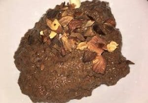 chocolate chia pudding with almonds