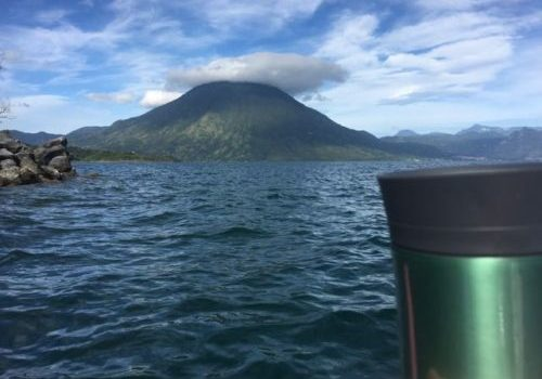kayaking with my coffee mug and San Pedro volcano