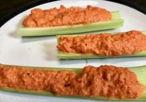 Roasted red pepper dip in celery